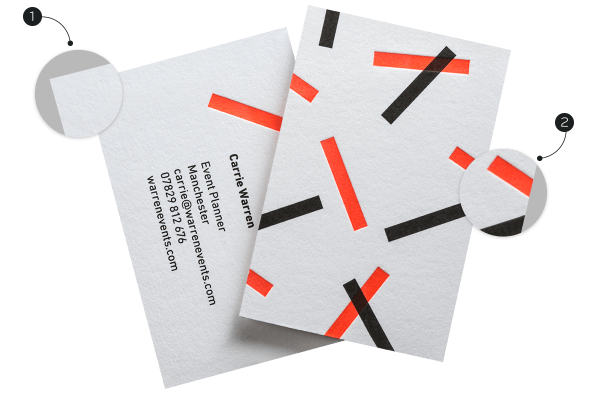 2 sides of white Letterpress Business Card with red & black sprinkle pattern, zoom view of paper & debossed letterpress design