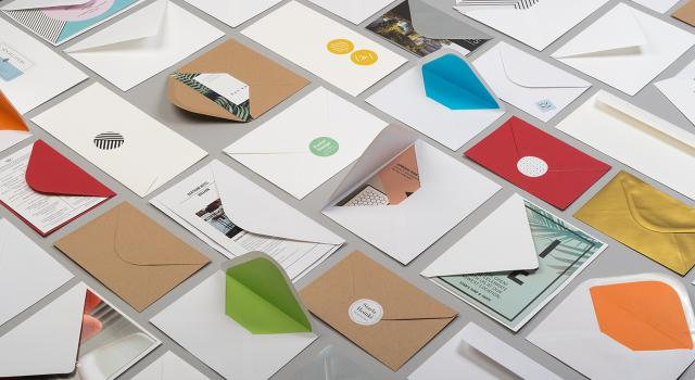 Mosaic of premium Envelopes in various sizes, shapes, colors and patterns