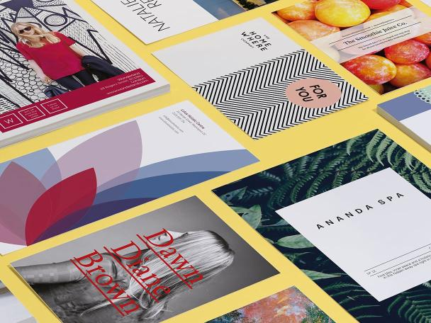 Mosaic of all MOO premium flyer designs in all sizes on yellow background