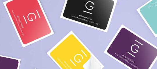 Rectangle stickers in various colors on mauve background