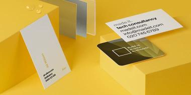 3 Super Business Cards in different sizes and designs including High Gloss and Soft Touch finish Business Cards