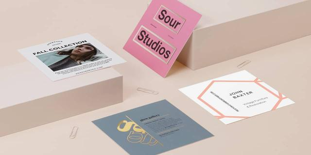 4 double-sided square postcards with full colour designs