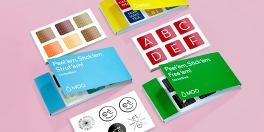 6 sticker books with 6 small square stickers per sheet each and various sticker designs