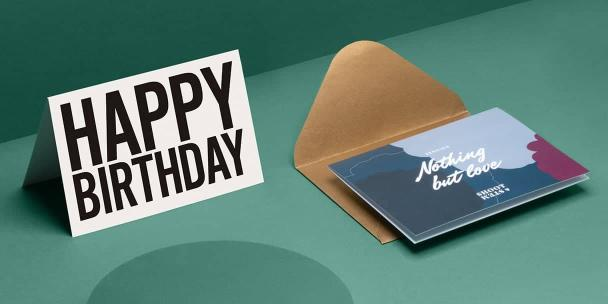 White birthday card,