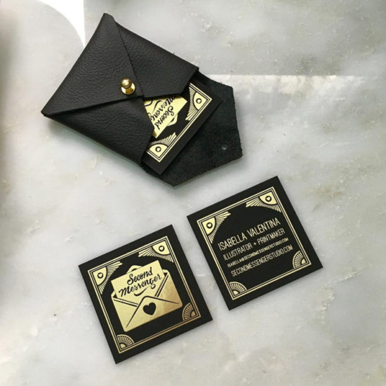 The Second Messenger Gold Foil Business Cards