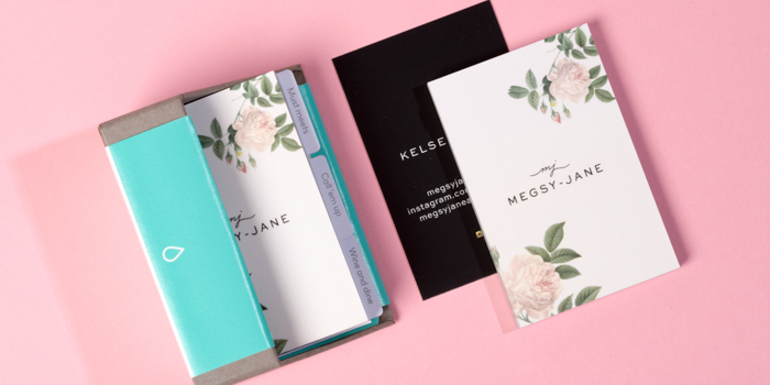 Megsy-Jane's business cards in a MOO box