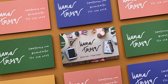 Liana Theresa colorful business cards with different designs