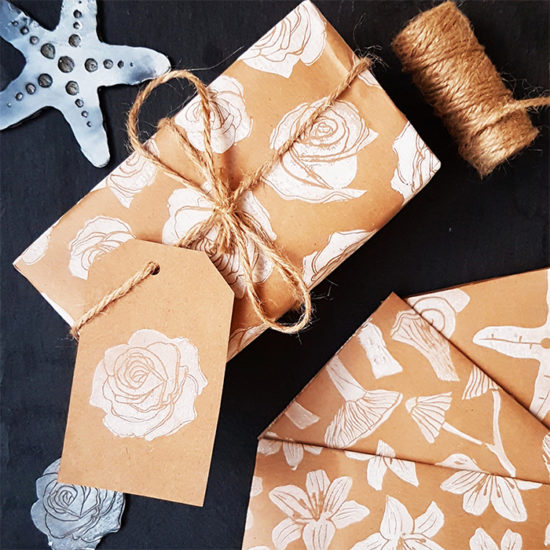Chloe Rogers stamped gift wrapping paper and paper products