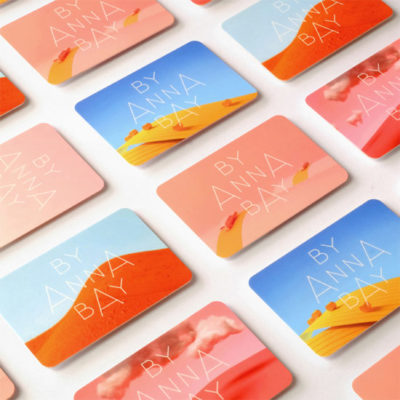 Anna Bay business cards with examples of artworks