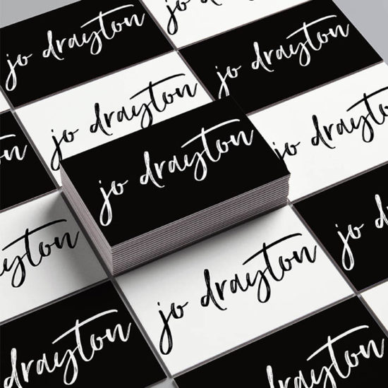 Jo Drayton black and white business cards