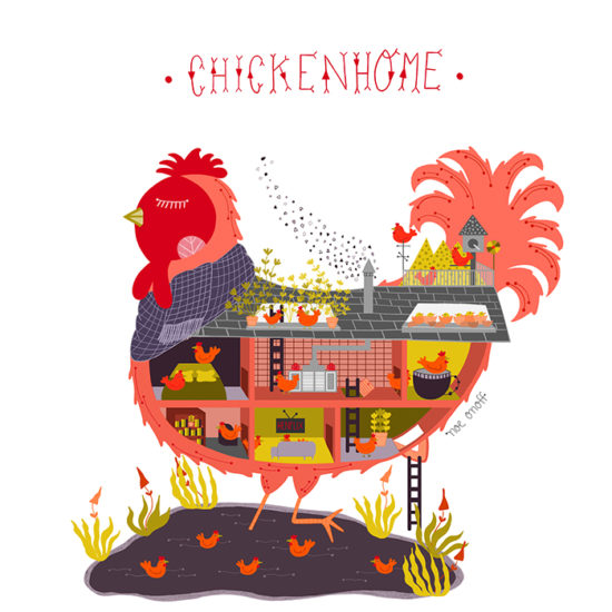 Noe Onoff chicken home illustration