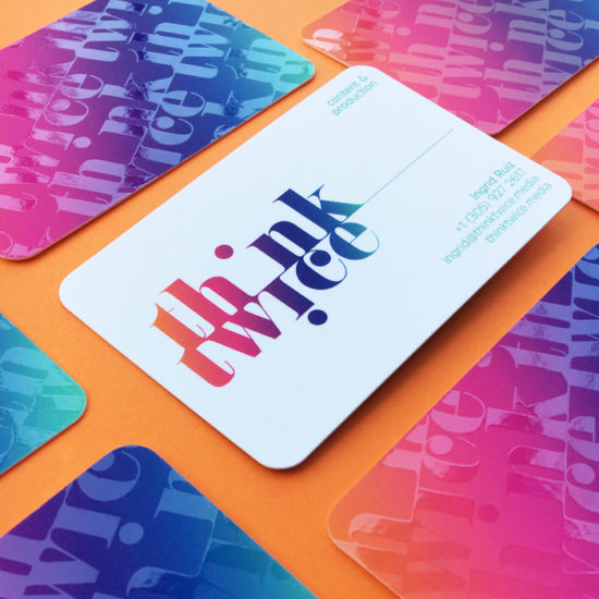 Think twice spot gloss business cards