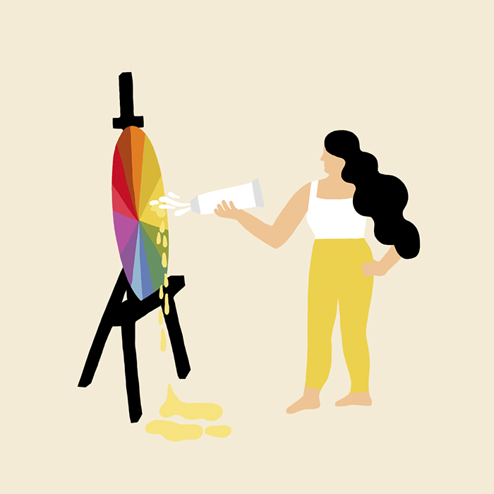 Person painting on color wheel Melanie Johnsson