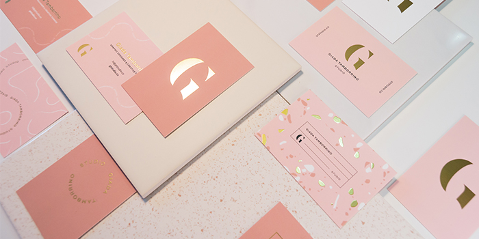 Giada Tamborino gold foil business cards