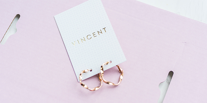 House of Vincent gold foil business cards used for earrings