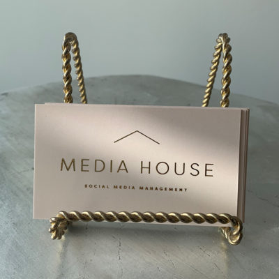 Media house business cards with gold foil