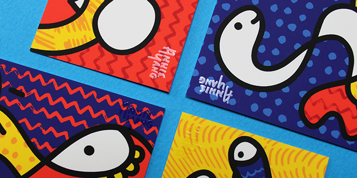 Close-up of Annie Yang spot UV business cards