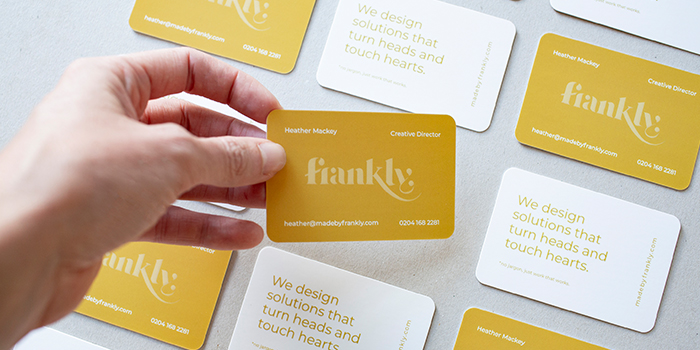 Frankly spot UV business cards