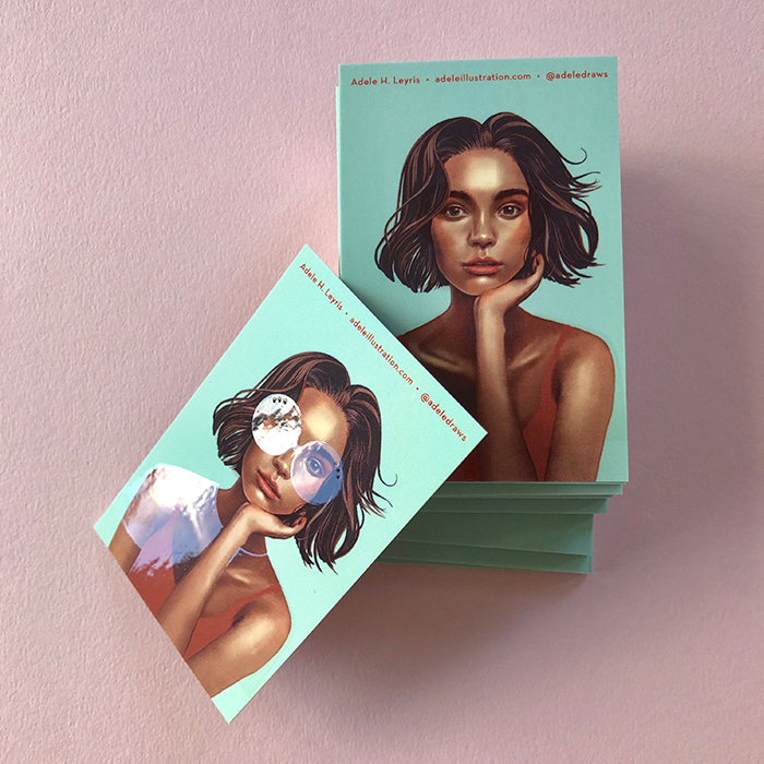 Adele Leyris spot UV business cards with portrait