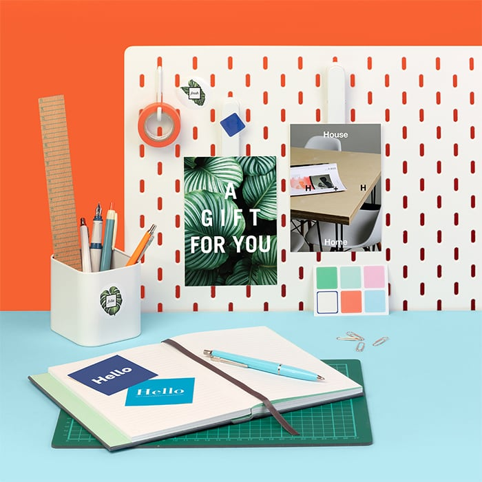 Colorful home office with creative print products