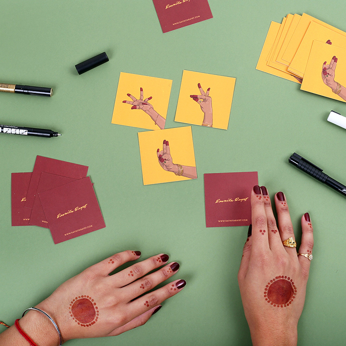 Ravnita Raynet square business cards with hands