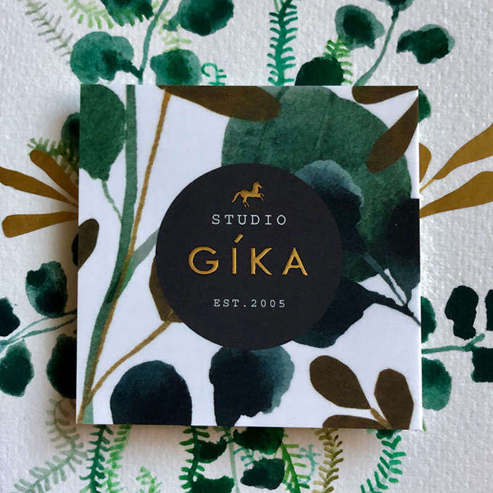 Studio Gika gold foil business card