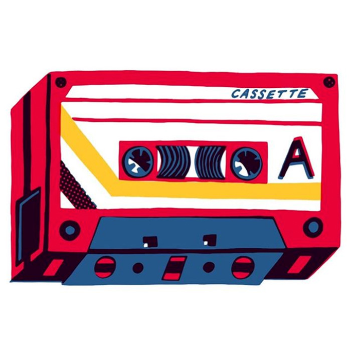 Charlie Gould red and yellow cassette design