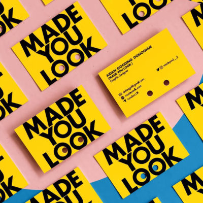 Made you look yellow business cards