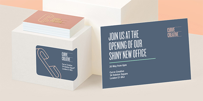 New office opening postcard and sticker