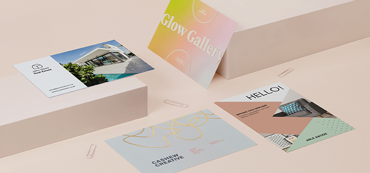 Small Postcards in various colors and designs