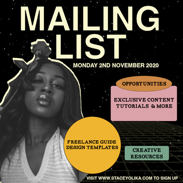 Stacey Olika zine-inspired mailing list visual illustrating 2021 design trends