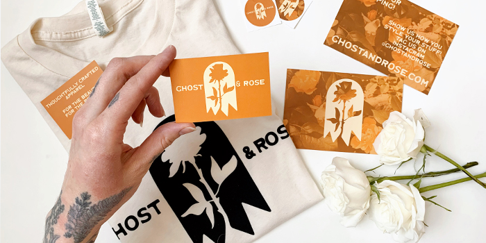 Ghost and Rose cards, t-shirts and stickers