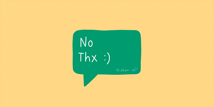 Illustration of a text message saying No Thanks by artist Söber from soberlandart