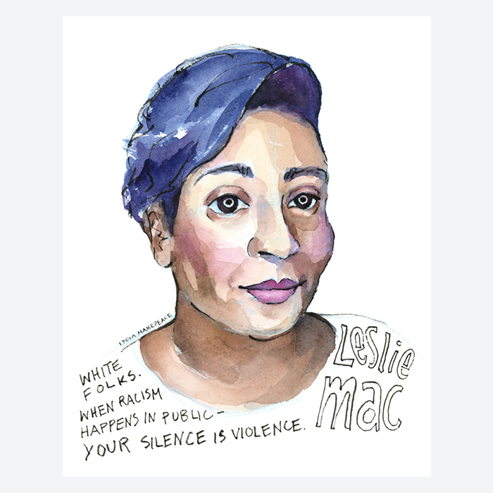 Watercolor portrait of Leslie Mac by Lydia Makepeace