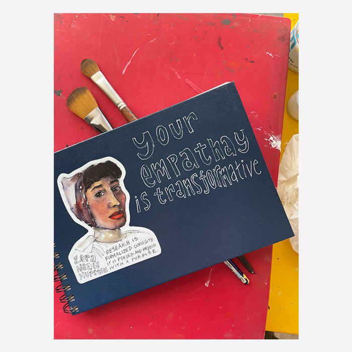 Lydia Makepeace sketchbook with a quote and a portrait of Zora Neale Hurston