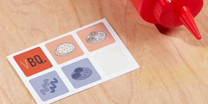 Small square stickers with barbecue food designs