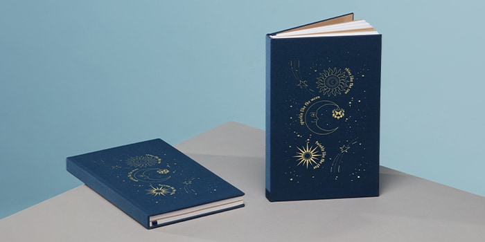 JJ Butterfly night blue custom branded cloth hardcover notebooks with gold foil design by MOO