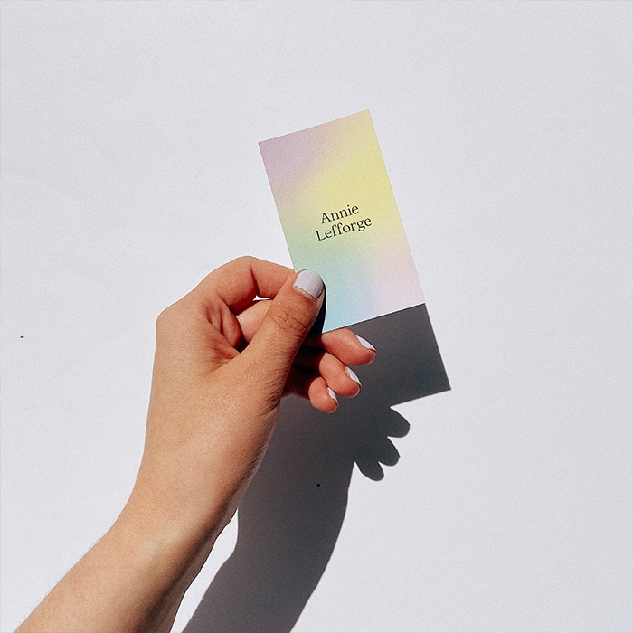 Hand holding a gradient card by Annie Lefforge