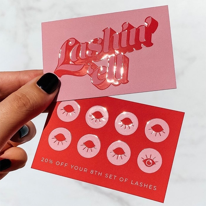 Lashin Hell spot gloss loyalty cards with retro type by Lucy's Logos
