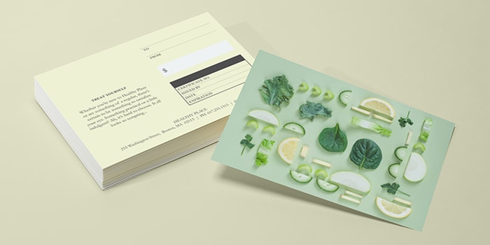 Postcard front and back with the Gifted customizable postcard template by MOO