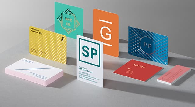 Business cards in various sizes, designs and finishes