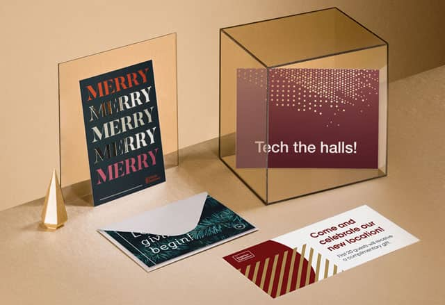 Christmas postcards in various sizes & designs including silver foil details, envelope and Christmas props on golden background