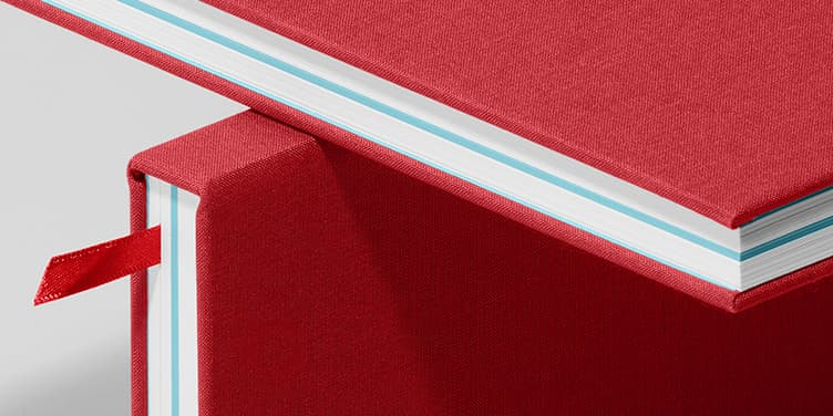Notebook, Hardcover, Berry Red/Turquoise