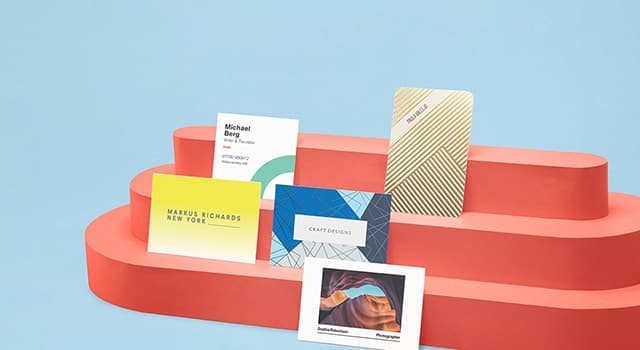 Business cards in various sizes, colors, designs and finishes