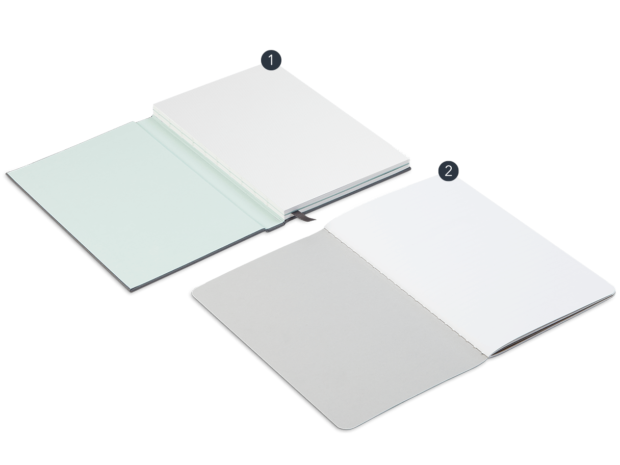 2 open Notebooks: 1 Hardcover Notebook with cloth cover and ribbon and 1 Softcover Notebook with colored central seam