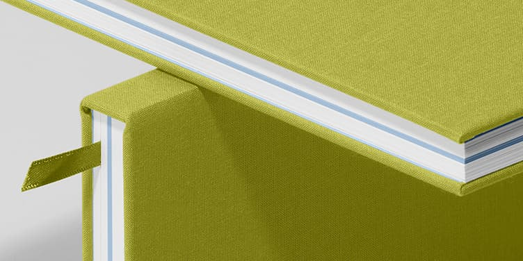Notebook, Hardcover, Lime Green/Steel Blue