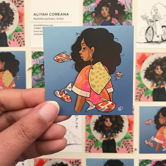 Aliya Hart illustrated Square Business Cards printed by MOO