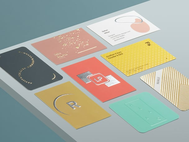 8 creative Business Card finishes including Gold Foil, Silver Foil, Spot UV and Raised Spot UV