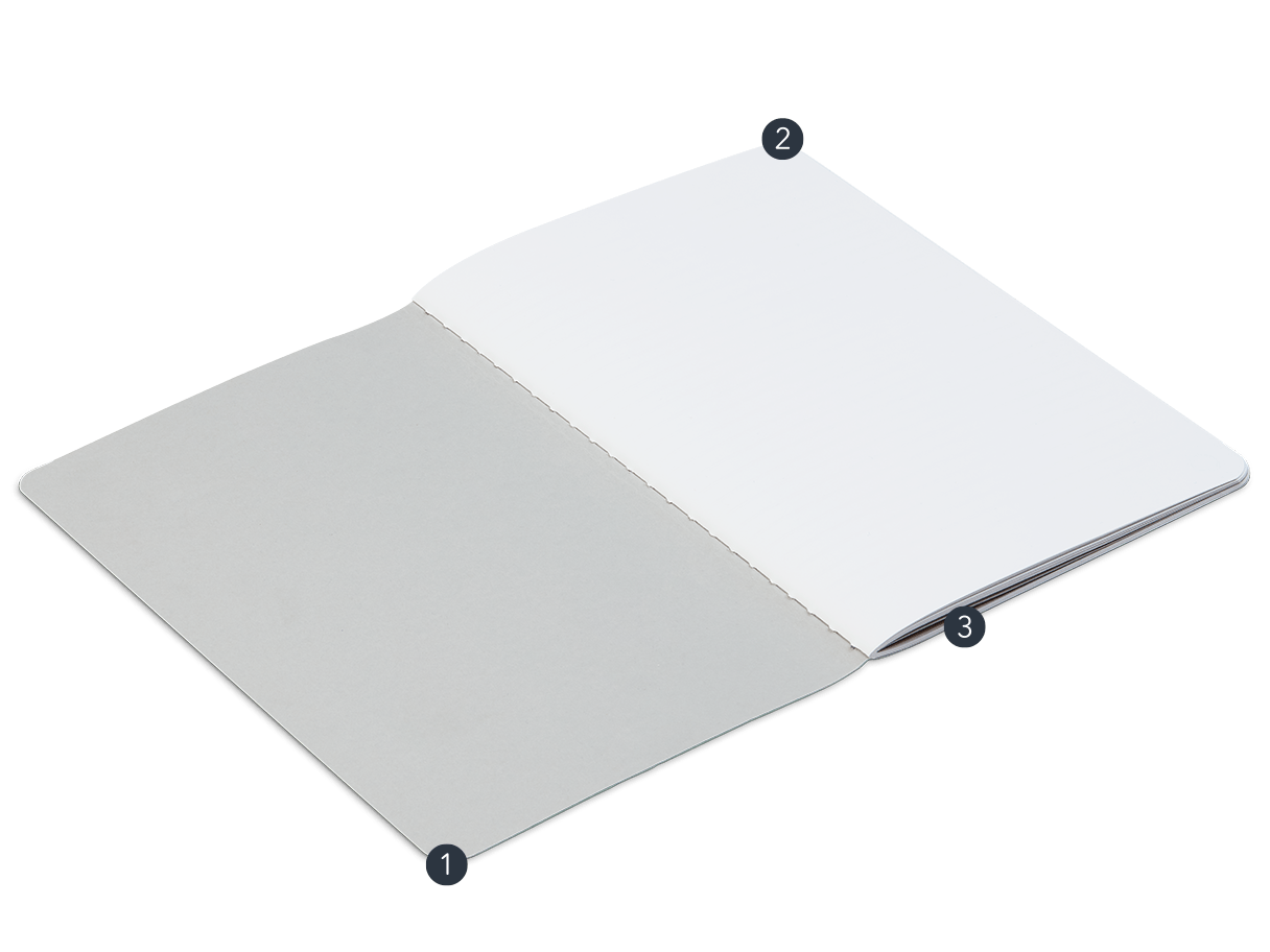 Open lightweight Notebook with soft cover, Munken Kristall paper and coloured central seam