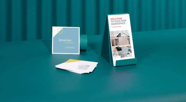 Flyers and Leaflets in various sizes and designs on dark turquoise background
